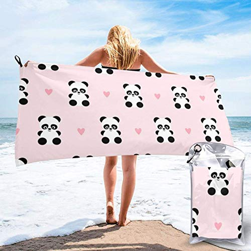 Unique Life Toalla de baño Pink Panda, toalla de gimnasio, toalla de playa, microfibra suave de secado rápido, ligero