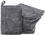 ZOLLNER24 9er Set Gant de Toilette, Microfibre, avec Boucle de Suspension, Gris