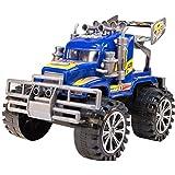 TukTek Kids First Monster Semi Truck Racecar Toy Friction Push Power Play Car for Boys & Girls