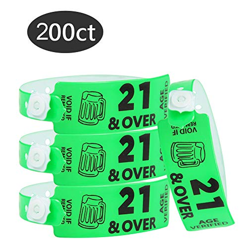 Wristall Over 21 Age Verified Plastic Wristbands for Event - 200 Count Party Vinyl Wristband for Club (Neon Green)