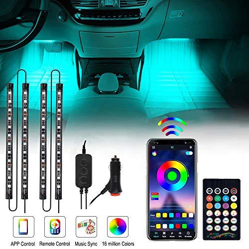 OTHWAY - Luces LED para interior de coche, 4 piezas, 48 LED, Bluetooth, kit de iluminación controlado por APP Bluetooth, sincronización de música, DC 12 V (estilo cargador de coche)