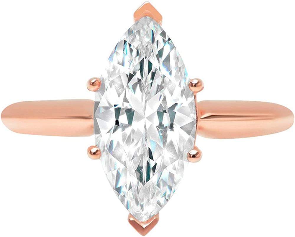 2.50 ct Brilliant Marquise Cut Solitaire Stunning Genuine Lab Created White Sapphire Ideal VVS1 D 6-Prong Engagement Wedding Bridal Promise Anniversary Ring Solid 14k Rose Gold for Women