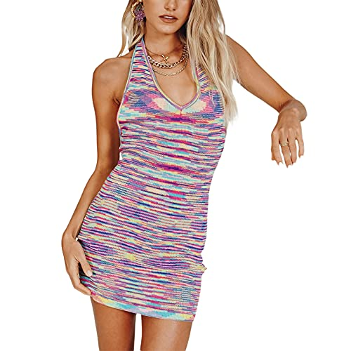 WOXING Damska Y2K dzianinowa sukienka mini w stylu boho, letnia sukienka bez rękawów seksowna sukienka bez rękawów z nadrukiem obcisła długość do kolan klub ołówkowa sukienka