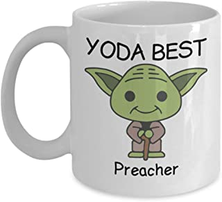 Yoda Best Preacher - Novelty Gift Mugs for Star Wars Fans - Co-Workers Birthday Present, Anniversary, Valentines, Special Occasion, Dads, Moms, Family, Christmas - 15oz Funny Coffee Mug