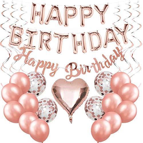 Happy Birthday Ballon Rose Gold Girlande Geburtstagsdeko Mädchen Folienballons Rosegold Konfetti Luftballons Spiralen Geburtstag Deko set