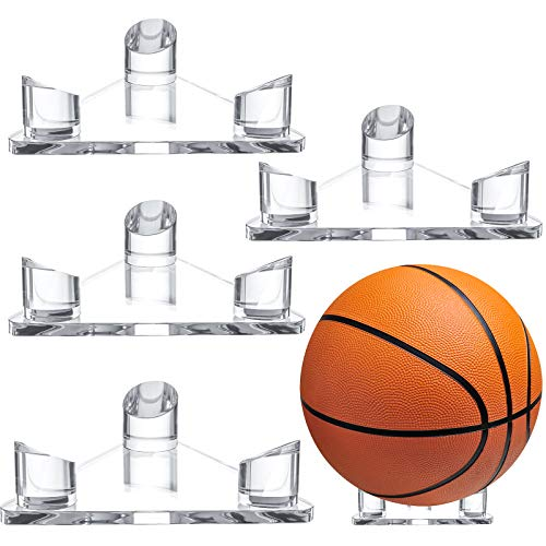 4 Pieces Clear Acrylic Ball Stand Display Stand Triangle Basketball Display Stand Holder Clear Ball Display Rack for Footballs Basketballs Volleyballs Soccer Balls Bowling Ball Display