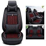 Car Seat Covers protector PU cuero Asientos delanteros y traseros for VW Amarok Bora Golf 4567 mk4567Jetta Santana Tiguan Touareg T-Roc, todo tipo de clima Airbag impermeable compatible, una funda par