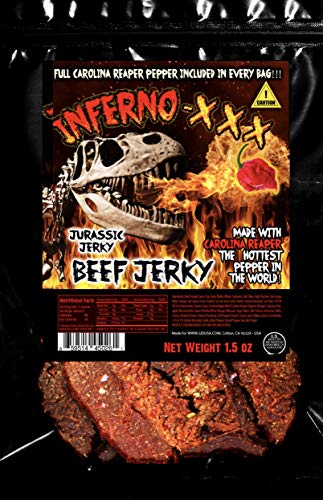 JURASSIC JERKY'S INFERNO - XXX HOT Beef Jerky * Every 1.5 oz bag includes (1) Carolina Reaper Pepper the Hottest Pepper in the World! Can you handle the Heat? Take the Challenge!