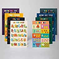 Cutest Educational Preschool Posters 8 Set - Toddlers and Kids Prints, Nursery Home Schooling Kindergarten Classroom - Teach Numbers Alphabet Colors Days and More, 11 x 17 In.