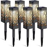 KOOPER Garten Solarlampen für Außen, 6 Stück Upgrade Solar Gartenleuchte mit Warme LED Licht, Auto Ein/Aus Garten Deko Solarleuchten für Außen Patio Rasen Terrasse Fahrstraßen