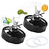 Vodche Ninja Blender Replacement Parts, Ninja 7 Fins Extractor Blades Replacement Part Bottom Blade for Ninja Blender for Nutri Ninja Auto iQ BL642 NN102 BL682 BL2013 (2 Pack, 4x Gasket Rubber)