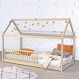 Lit cabane 90x190 barrière de lit amovible et sommier inclus Panda - Bois