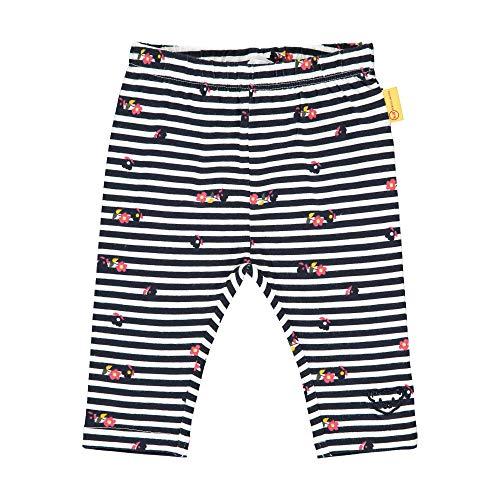 Steiff Baby-Mädchen mit süßer Teddybärapplikation Leggings, Navy, 074