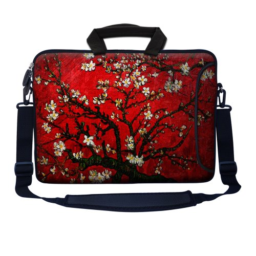Meffort Inc 15 15.6 inch Neoprene Laptop Bag Sleeve with Extra Side Pocket, Soft Carrying Handle & Removable Shoulder Strap for 14' to 15.6' Size Notebook Computer - Vincent van Gogh Cherry Blossoming