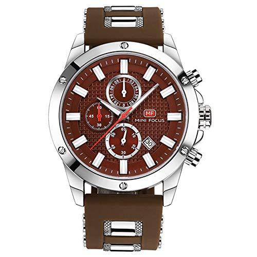 Armbanduhren,3-Eye-Timing-Sportuhr Mode-Business-Silikon-Gürtel-Quarzuhr Braunes Band Mit Braunen Muscheln Und Kaffee-Nudeln
