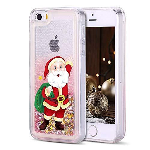 SpiritSun Funda iPhone 5 / 5S Silicona TPU Carcasa Transparente Líquido Bumper Tapa Quicksand Cubierta Trasero Flexible Bling Suave Protectora Case para iPhone 5 / 5S / SE Santa Claus - Dorado