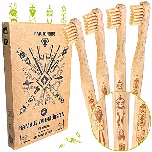 Nature Nerds - kleine Bambus-Zahnbürsten für Kinder im Set (4er Pack) / Härtegrad: weich/aus nachhaltig angebautem Bambus