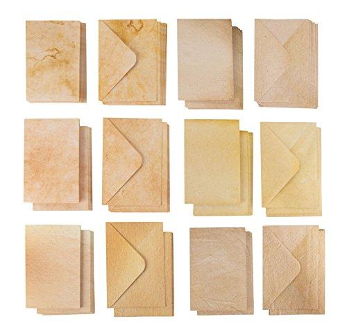 60 Pack wenskaarten en enveloppen – oude stijl enveloppen en halfvoudige notitiekaarten – 6 vintage antieke ontwerpen, 4 x 6 inch
