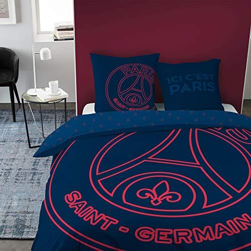 CTI Bettbezug + Kissenbezug, 100 % Baumwolle, Logo Oversize Paris Saint Germain (240 x 220 cm)