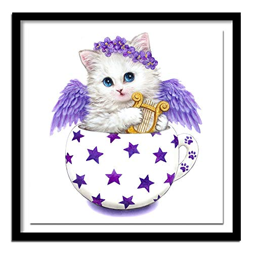 XUESHANGY 5D Diamond Painting Kits Full Drill DIY Cross Stitch Crystal Embroidery Pictures for Home Wall Decor Cartoon Teacup cat 30 * 40cm