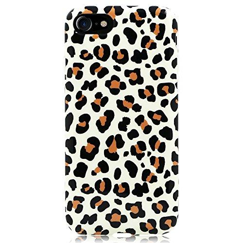 GoldSwift Flexible Soft Rubber Gel Case for iPhone SE 2nd 2020, iPhone 8, iPhone 7, iPhone 6S and iPhone 6 (Brown Leopard Print)