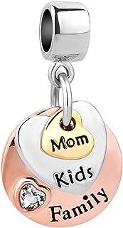 Q&Locket Heart Love Mom Dad Kids Family Charms Beads for Bracelets