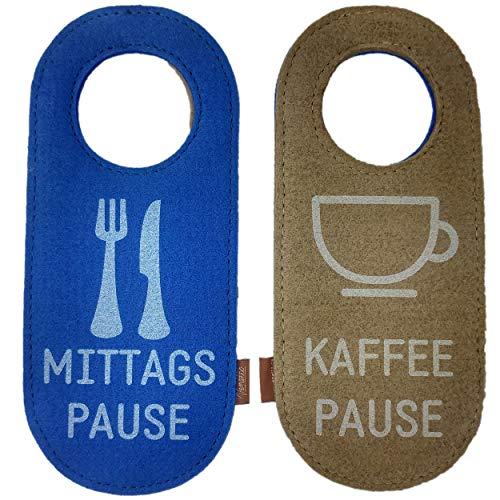 Filz Türschild Filzband Türhänger Wendeschild Klinkenschild Anhänger für Hoteltür Band Ring aus Filz Mittagspause Kaffeepause (1 Stück)