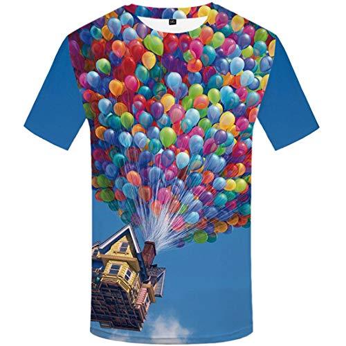 Nieuwe Heren Zomer Kleding Ballon Kasteel Digitale Printing T-Shirt 3D Mannen en Vrouwen Casual Ronde Hals t-shirt top
