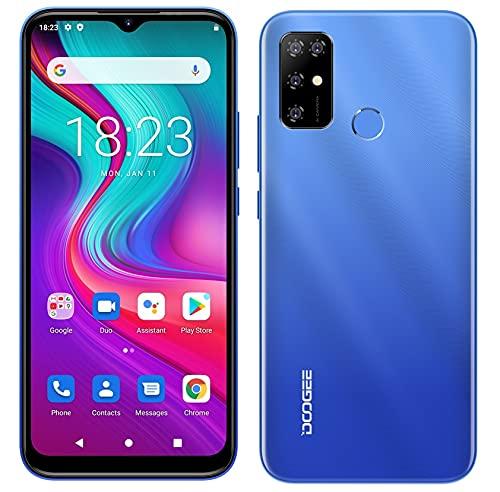 Teléfono Móvil Android 11 DOOGEE X96 Pro, Octa Core 4GB RAM 64GB ROM, Batería 5400mAh, Cámara Cuádruple 13MP, Pantalla HD+ 6,52 Pulgadas, Smartphone Dual SIM + SD (3 Ranuras), Huella Digital Azul