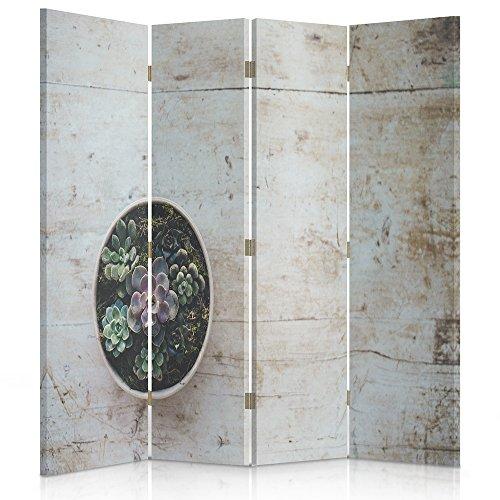 Feeby Frames Biombo Impreso sobre Lona, tabique Decorativo para Habitaciones, a una Cara, de 4 Piezas (145x180 cm), Flor, Maceta, RÚSTICO, Verde, MARRÓN