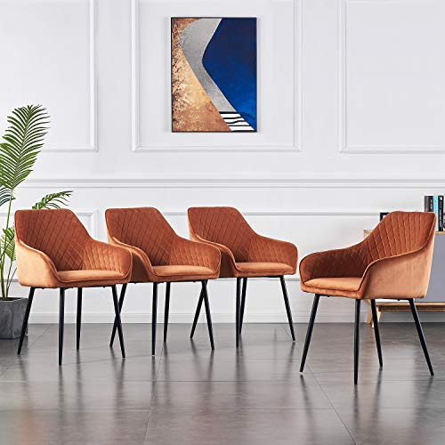 4er Set Wohnzimmerstuhl Esszimmerstuhl aus Stoff (Samt) Farbauswahl Retro Design Armlehnstuhl Stuhl mit Rückenlehne Sessel Metallbeine Schwarz (Orange, 4)