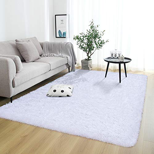 Rostyle Super Soft Fluffy Area Rugs for Bedroom Living Room Shaggy Floor Carpets Shag Christmas Rug for Girls Boys Furry Home Decorative Rugs, 6 ft x 9 ft, White