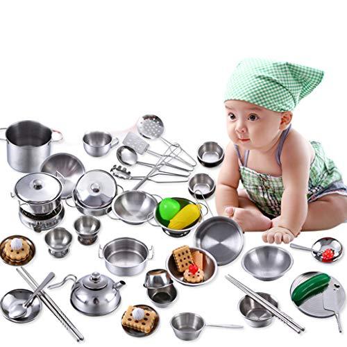 lijun - Juego de 40 ollas de Juego para niños, Juego de Cocina, Utensilios de Cocina de simulación, Juguetes de Cocina
