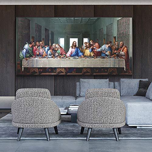 UIOLK Carteles artísticos de la última Cena de Leonardo da Vinci y Pinturas en Lienzo en la Pared, Famoso Arte de Jesús, Cuadro de Pared, decoración del hogar