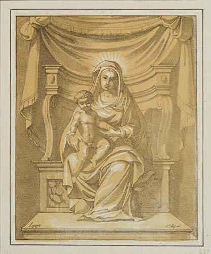 H. W. Fichter Kunsthandel: F.PILOTY (1828), nach J. LIGOZZI (1547), Thronende Madonna mit Kind, Lith.