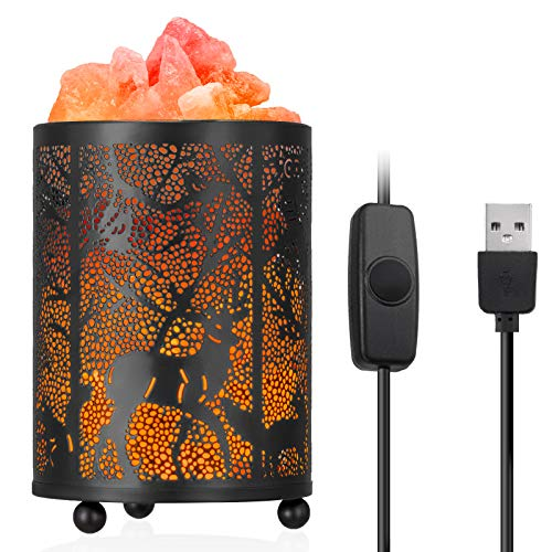 Lámpara de sal del Himalaya natural de Zanflare, Entrada USB, luz nocturna, lámpara creativa con botón de configuración de intensidad. Saludable para su cuerpo, regalo de cumpleaños.