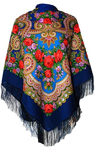 Original groß Lang Dunkelblau Damen Russischer Pawlow Posad Schal Tuch Umschlagtuch 100% Wolle, mit Paisley und Blumen, mit Seidenfransen, hochwertige Stola - sehr hohe Qualität 125cm x 125cm