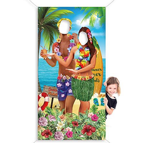 Decoración de Fiesta Hawaiana Aloha Foto Prop de Pareja Luau, Fondo de Fotomatón Hawaiano Tela Gigante, Banner de Puerta de Foto Divertido para Fiesta Luau o Fiesta de Playa, 6 x 3 ft