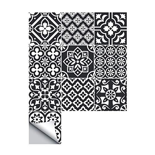 Yubingqin 10/15 / 20cm Pegatinas de Azulejos Negro Blanco Etiquetas de Pared Auto -Adhesivo Anti óleo Afile a Prueba de Agua Azulejos de Cocina Decoración de baño (Color : Black, Size : 20x20CM)