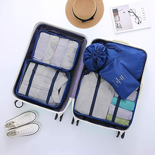 ADDG 6PCS Packing Cubes Set for Travel Luggage Organiser Bag Compression Pouches Clothes Suitcase, Waterproof Travel Storage Bag Set,E