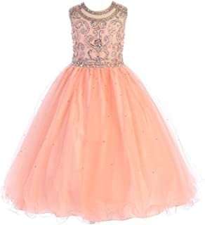 fc041fcc665 Angels Garment Big Girls Coral Bead Detailed Tulle Flower Girl Dress 7-8
