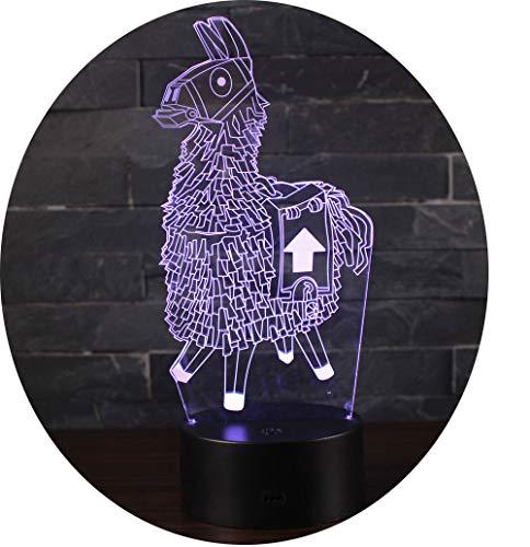 3D Optische Illusions-Lampen Win-Y LED-Schreibtisch Tischlampe 7 Farb-Touch-Lampen-Ausgang Schlafzimmer-Büro-Dekor für Kindergeburtstag Weihnachtsgeschenk (Alpaca)