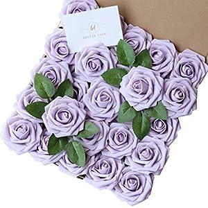 Silk Flower Arrangements Breeze Talk Artificial Flowers Lilac Roses 50pcs Realistic Fake Roses w/Stem for DIY Wedding Bouquets Centerpieces Arrangements Party Baby Shower Home Decorations (50pcs Lilac)