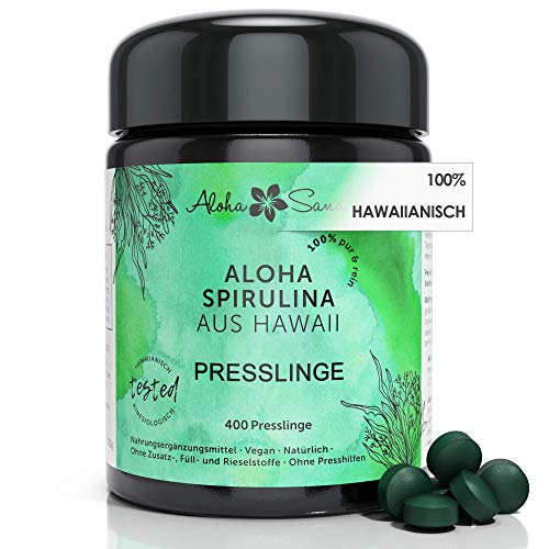 Aloha Sana® | Hawaii Spirulina Presslinge im Ultraviolettglas | 400 Presslinge Hawaii Pacifica Algen a 400mg | Laborgeprüfte Spirulina Tabletten | Made in Germany