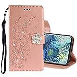 MDYHMC YXCY AYDD per Samsung Galaxy A31 Diamond Encrusted Plum Blossom Embossing Pattern Caso in Pelle Flip Orizzontale con Supporto e Carte Slot & Portafoglio e Cordino (Color : Rose Gold)