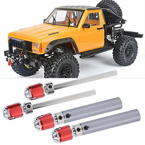 RC Car Antriebswelle, 2-Satz Metall-Getriebeantriebswelle Upgrade-Teile Kompatibel mit Axial SCX10 D90 1/10 Modellauto(Silberrot)
