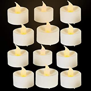 Kicko White Flameless Tea Light Candles - 1.5 Inches, 12 Pack