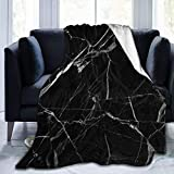 XXUU Manta de Lana Blanca y Negra con Estampado de mármol, Manta Ligera, súper Suave y acogedora, Manta cálida para la Sala de Estar/Dormitorio, Todas Las Estaciones
