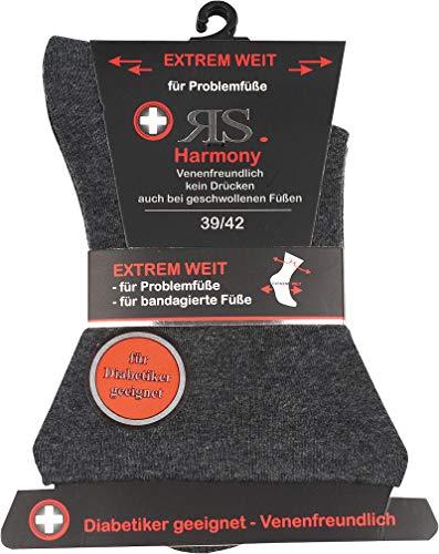 socksPur STRUMPF - SOCKEN EXTREM WEIT Für Diabetiker & Problemfüße. 2er- BÜNDEL (39/42, anthrazit)