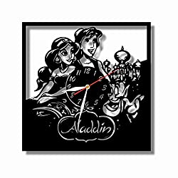 """mamakyma Offer. Cut of Plastic 11,4"""" Aladine and Jasmine Wall Clock. Non-Tickling. Classic Black. for Any Type of Room."""